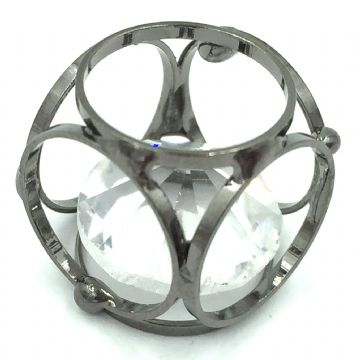 Caged cube with crystal inside - 15mm - Gun metal